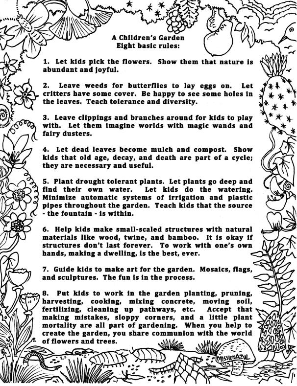 rules for childrens garden